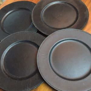 4 black leather Charger Plates. Genuine LEATHER!